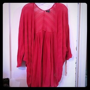 Red Bolero style cardigan lace material